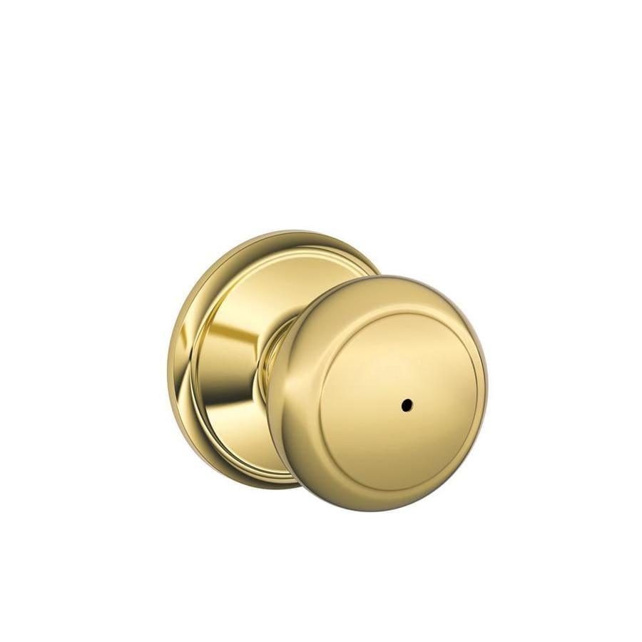 Schlage F Andover Bright Brass Round Push Button-Lock Privacy Door Knob