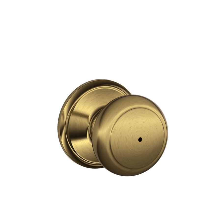 Schlage F Andover Antique Brass Round Push Button-Lock Privacy Door Knob