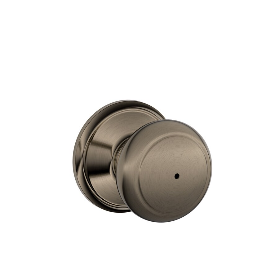 Schlage F Andover Antique Pewter Round Push Button-Lock Privacy Door Knob