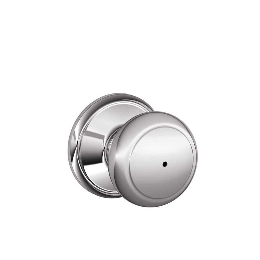 Schlage F Andover Bright Chrome Round Push Button-Lock Privacy Door Knob