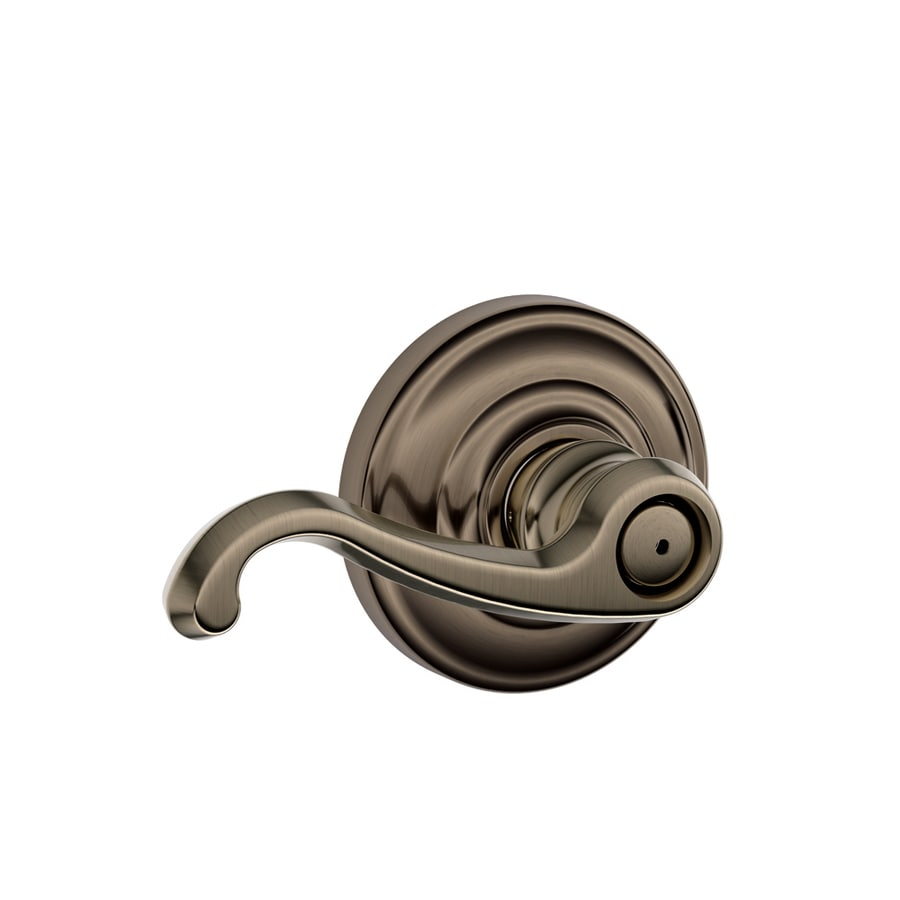 Schlage F Callington Antique PewterPush-Button Lock Privacy Door Lever