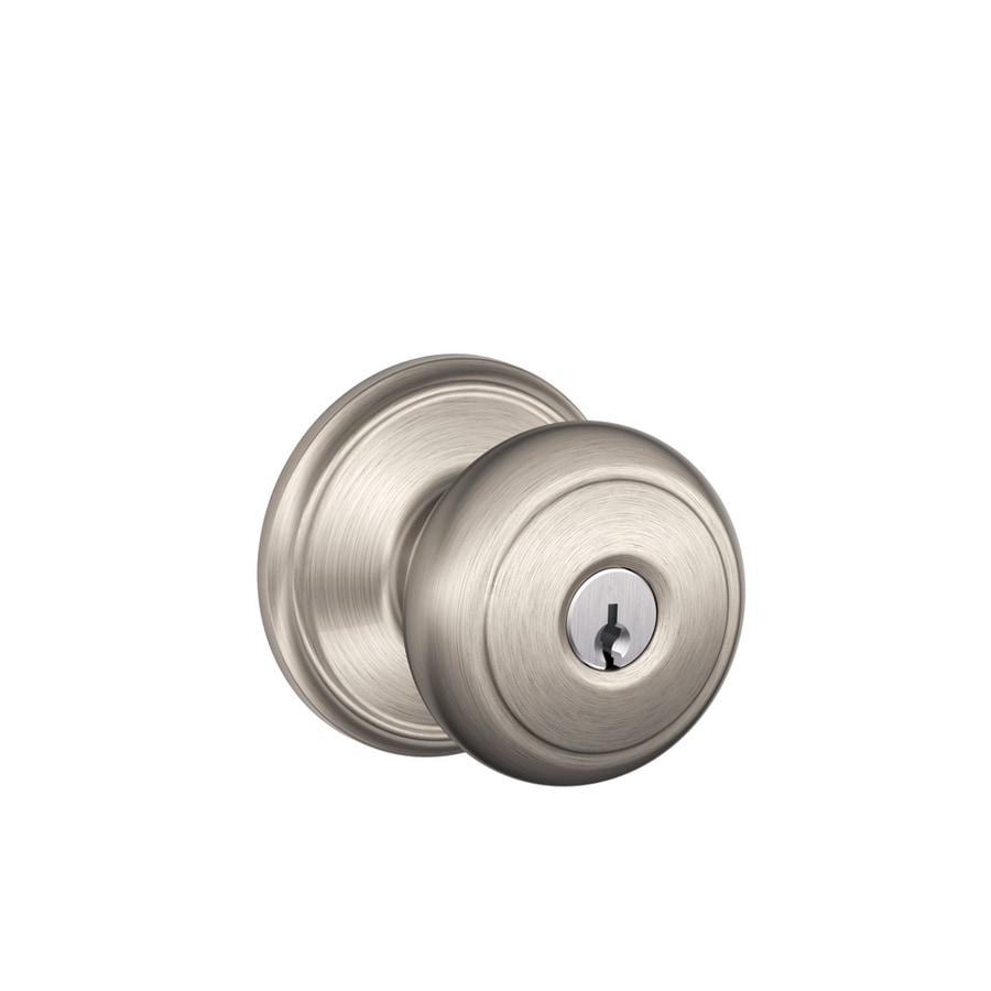 Schlage F Andover Traditional Satin Nickel Round Keyed Entry Door Knob