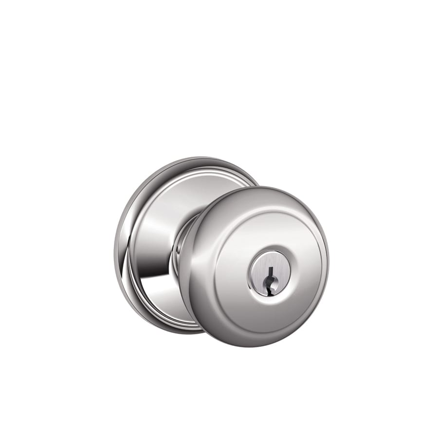 Schlage F Andover Traditional Bright Chrome Round Keyed Entry Door Knob