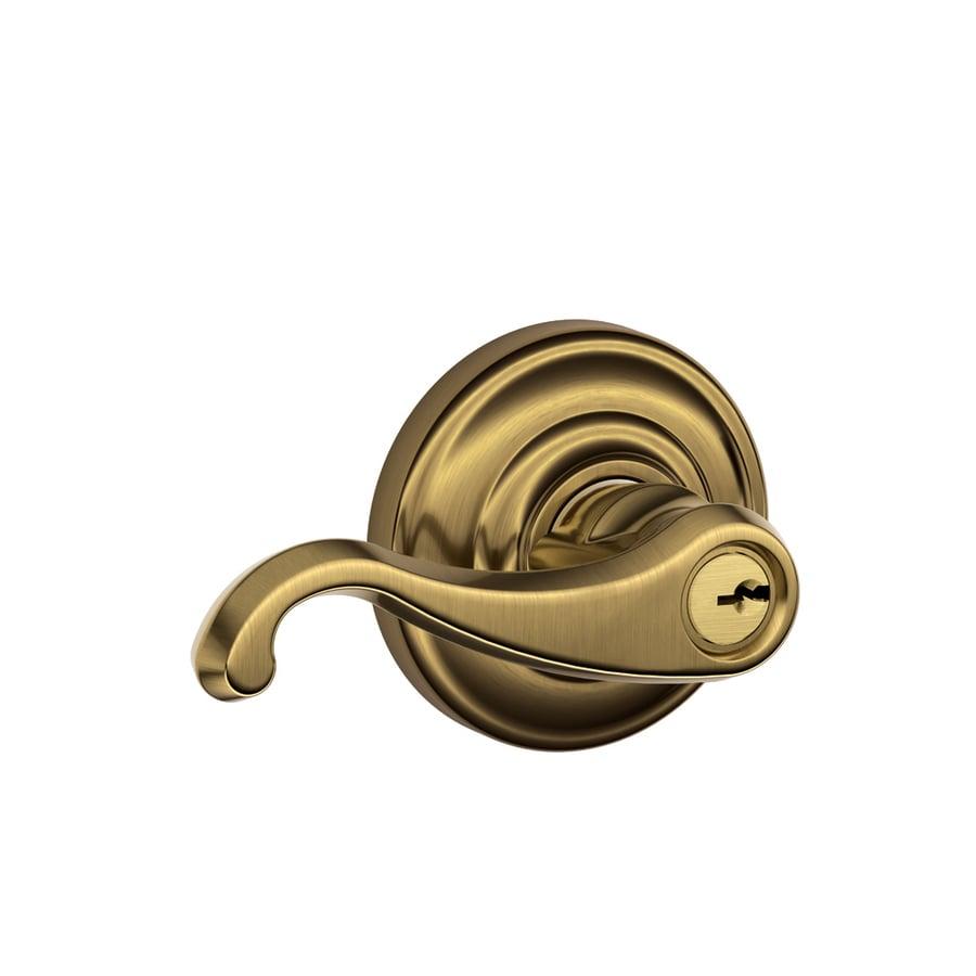 Schlage F Callington Antique Brass Keyed Entry Door Lever