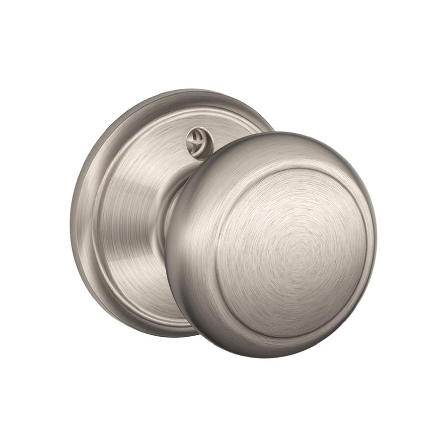 Schlage f andover satin nickel dummy door knob single pack - Satin nickel interior door knobs ...