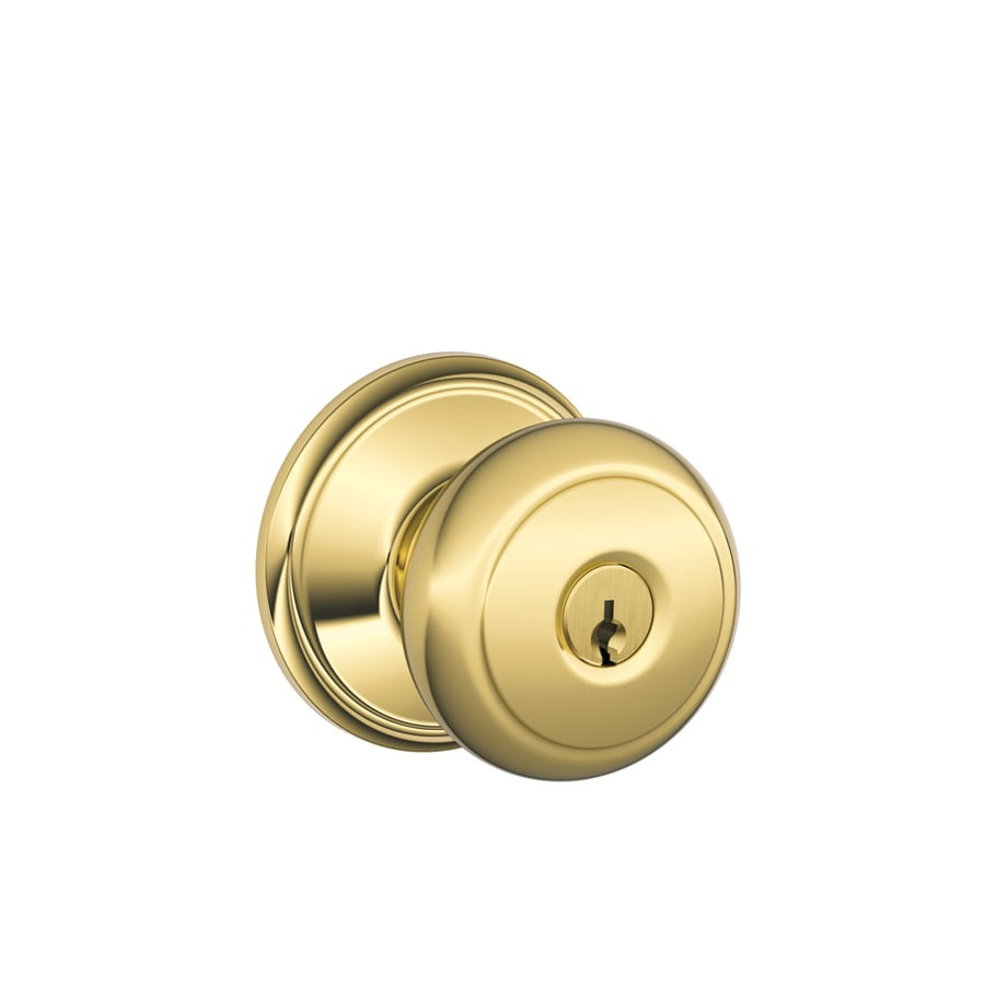 Schlage F Andover Lifetime Bright Brass Round Keyed Entry Door Knob