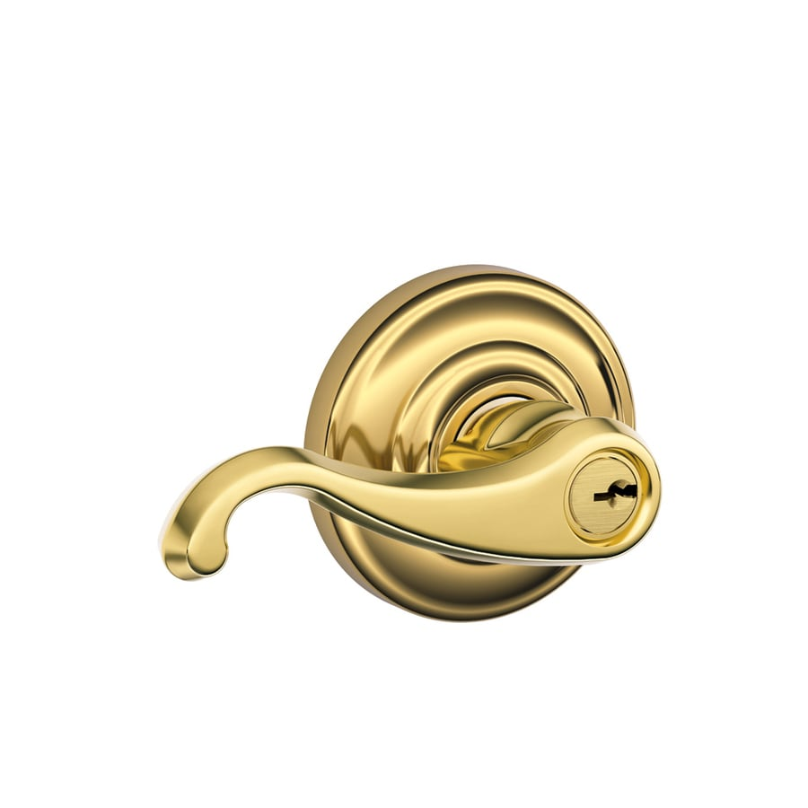 Schlage F Callington Traditional Lifetime Bright Brass Universal Keyed Entry Door Lever