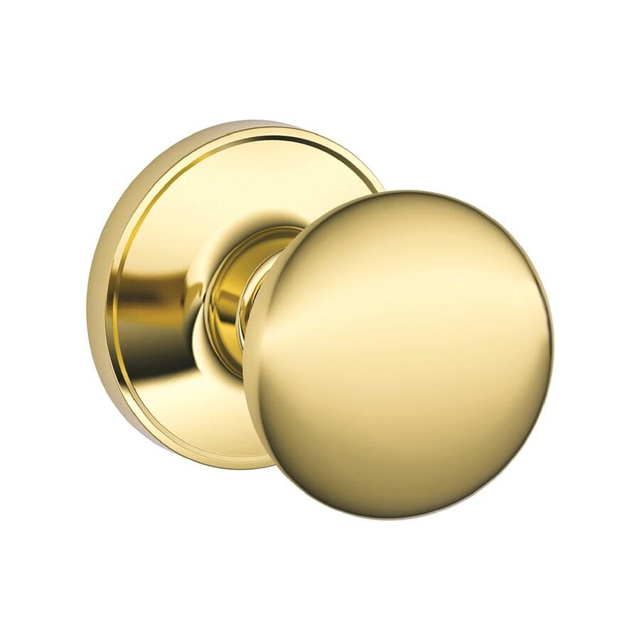 Shop Schlage Stratus Bright Brass Round Passage Door Knob