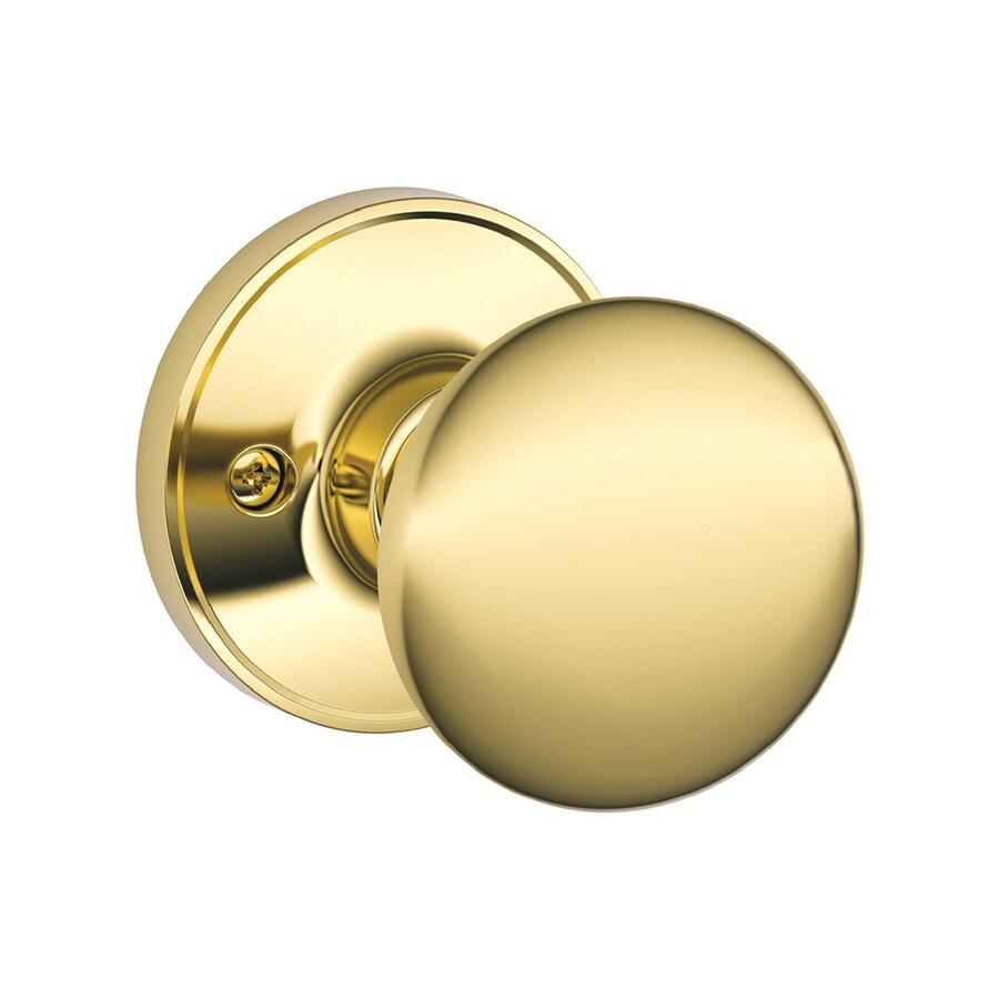 Schlage J Stratus Bright Brass Dummy Door Knob