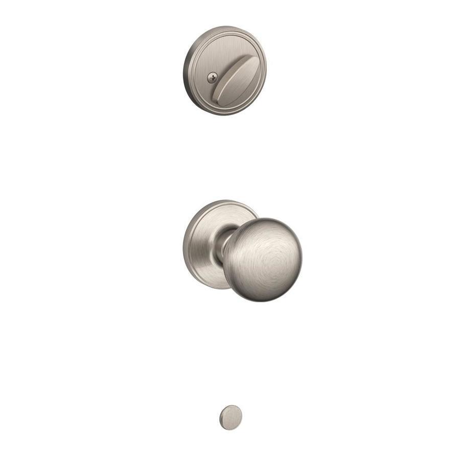 Schlage Stratus 1-3/8-in to 1-3/4-in Satin Nickel Single Cylinder Knob Entry Door Interior Handle