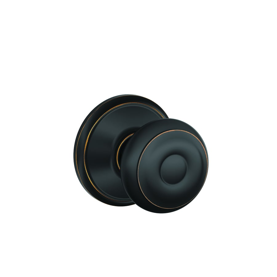 Schlage Passage Georgian Aged Bronze Round Passage Door Knob