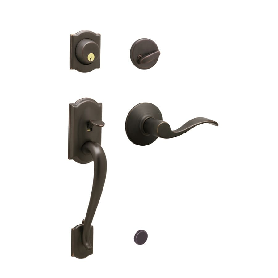 Schlage Camelot Aged Bronze Single-Lock Keyed Entry Door Handleset