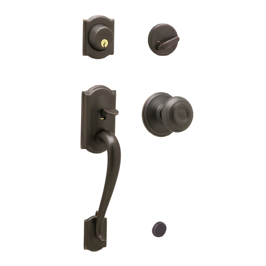 Shop schlage camelot aged bronze traditional keyed entry for Exterior door knobs