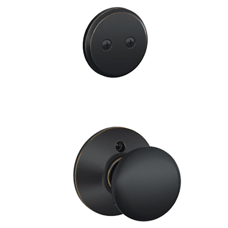 Schlage Plymouth 1-5/8-in to 1-3/4-in Aged Bronze Non-Keyed Knob Entry Door Interior Handle