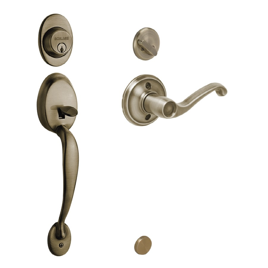 Schlage Plymouth Antique Brass Single Lock Keyed Entry Door Handleset