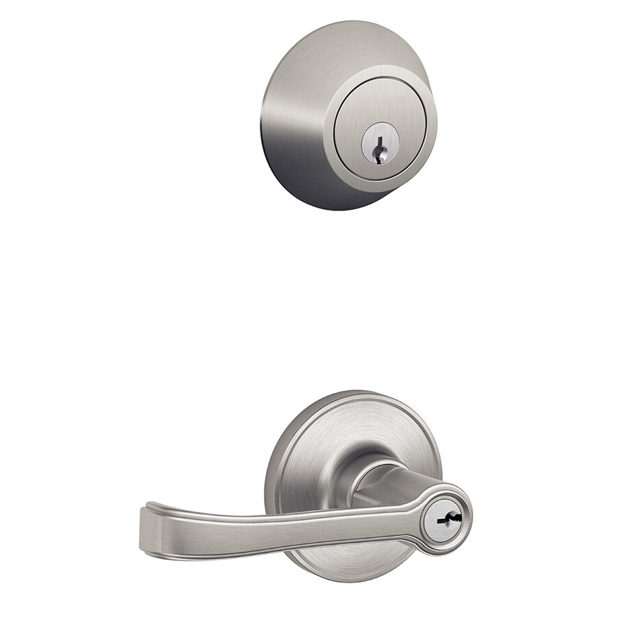 Schlage J Torino Satin Stainless Steel Universal Keyed Entry Door Lever
