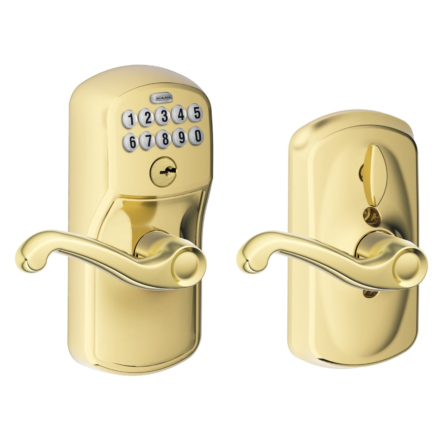 Schlage Plymouth Bright Brass Electronic Entry Door Lever