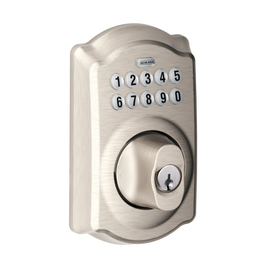 Schlage Camelot Traditional Satin Nickel Single-Cylinder Mechanical Electronic Entry Door Deadbolt with Keypad