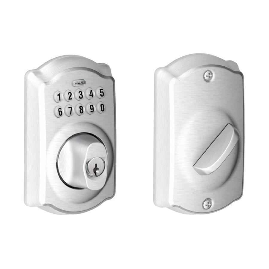 Schlage Camelot Satin Chrome Single-Cylinder Electronic Entry Door Deadbolt with Keypad