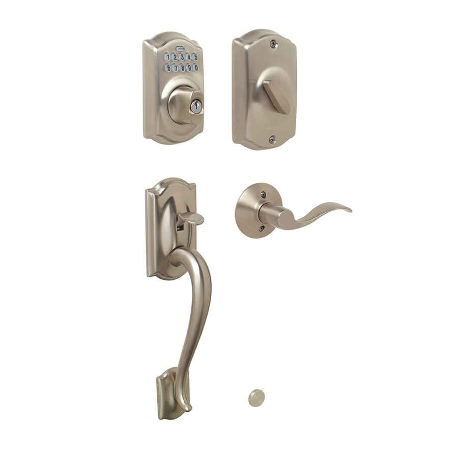Schlage Camelot Satin Nickel 1-Cylinder Electronic Entry Door Handleset