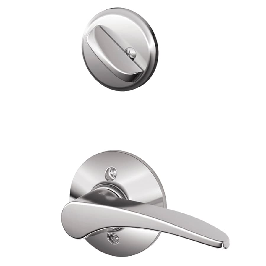 Schlage Manhattan 1-5/8-in to 1-3/4-in Bright Chrome Single Cylinder Lever Entry Door Interior Handle