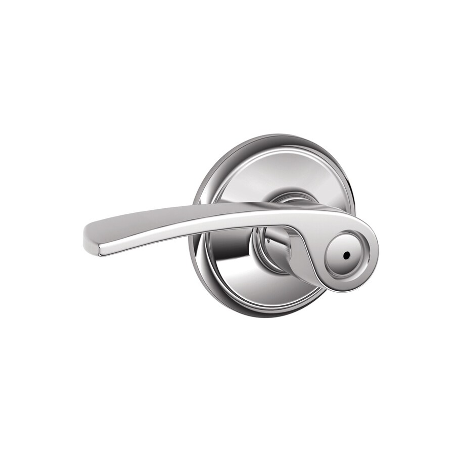 Schlage F Merano Bright Chrome Universal Push-Button Lock Privacy Door Lever