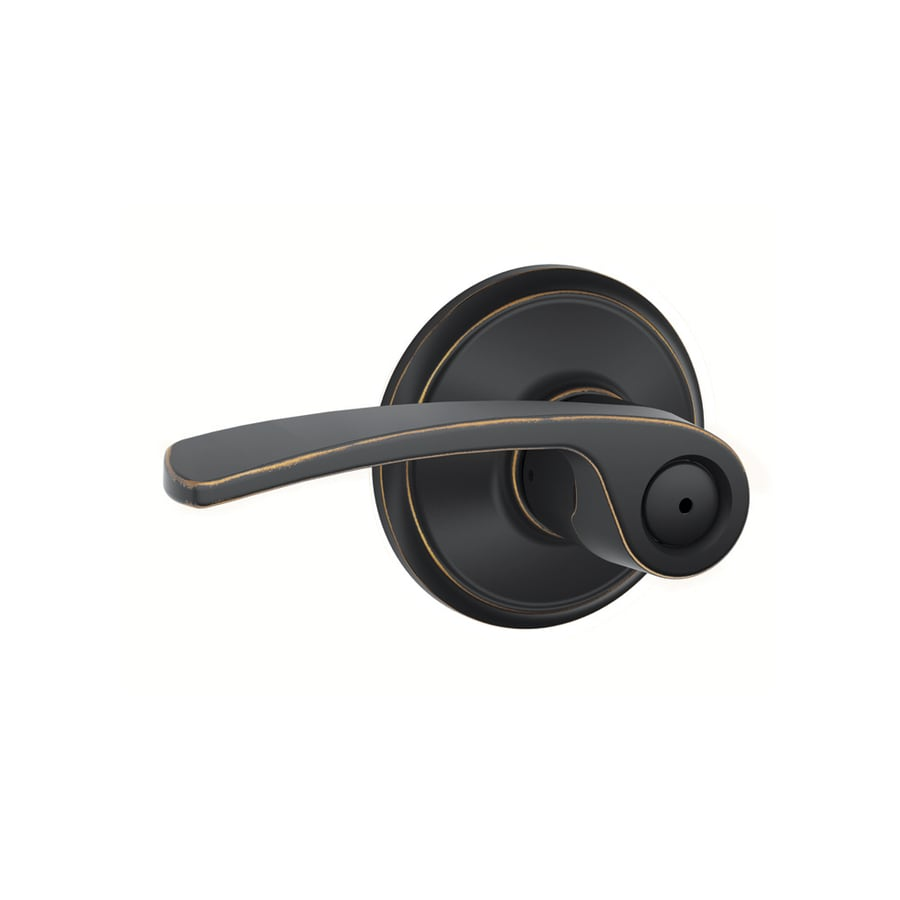 Schlage Merano Aged Bronze Push-Button Lock Privacy Door Lever