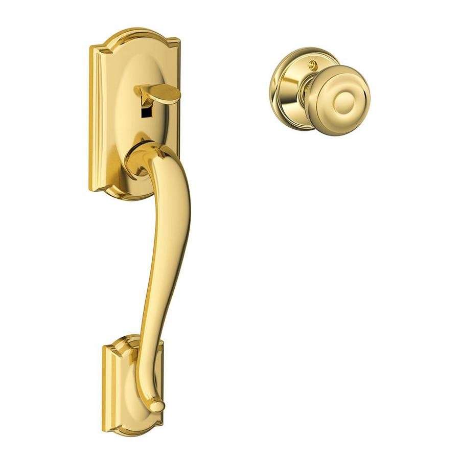 Schlage Camelot Lifetime Bright Brass Residential Entry Door Replacement Handleset