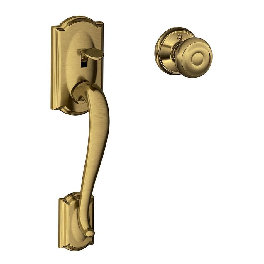 Shop Schlage Camelot Antique Brass Residential Entry Door Replacement Handles