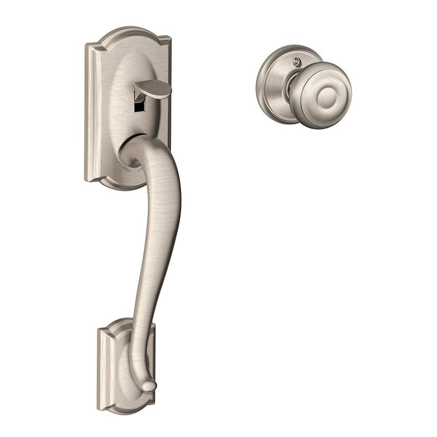 Shop Schlage Camelot Satin Nickel Residential Entry Door Replacement Handlese