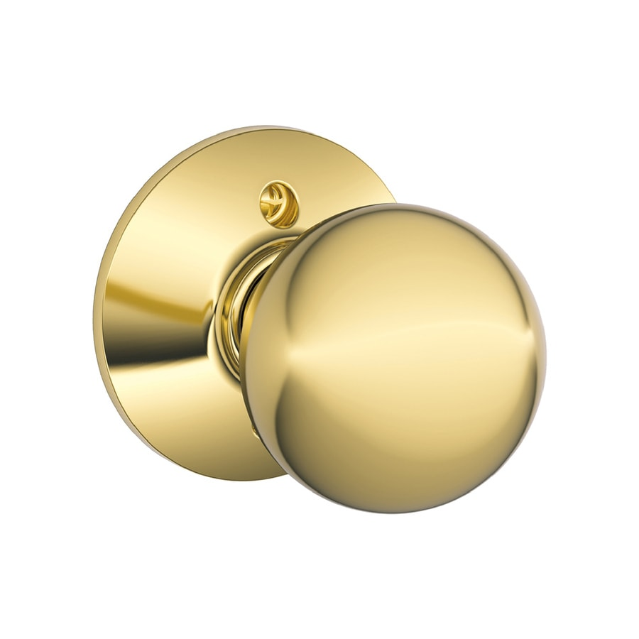 Schlage F Orbit Bright Brass Dummy Door Knob