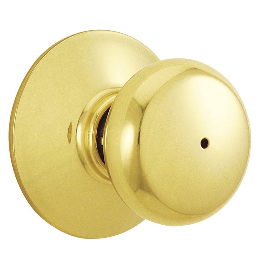 Shop Schlage F40 Plymouth Bright Brass Round Push-Button Lock ...