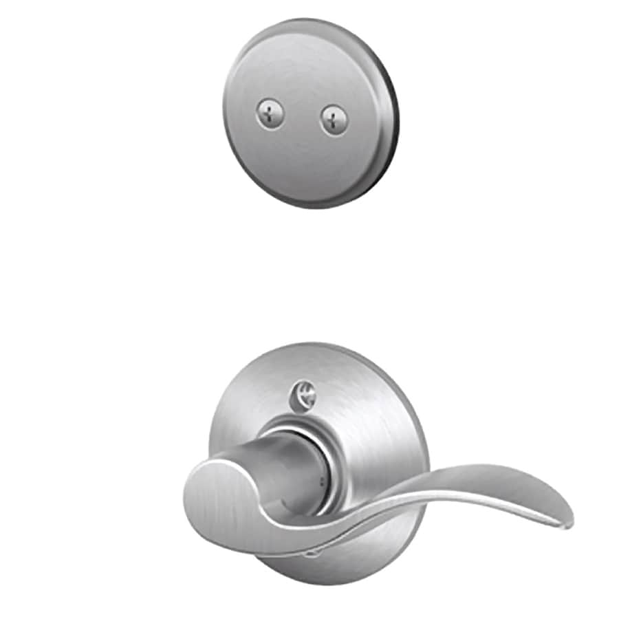 Schlage Accent 1-5/8-in to 1-3/4-in Satin Chrome Non-Keyed Lever Entry Door Interior Handle