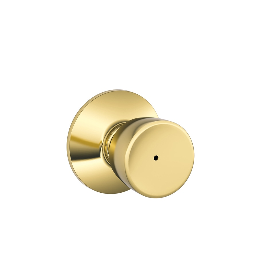 Schlage F Bell Bright Brass Round Push Button-Lock Privacy Door Knob
