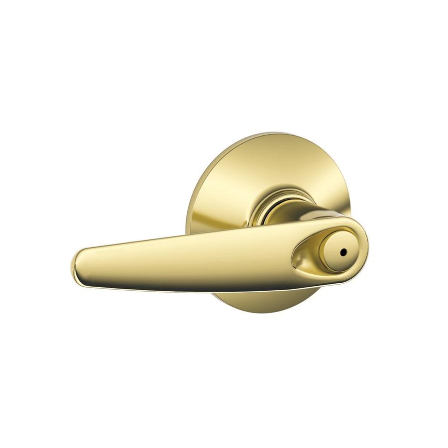 Schlage F Jazz Bright Brass Push-Button Lock Privacy Door Lever