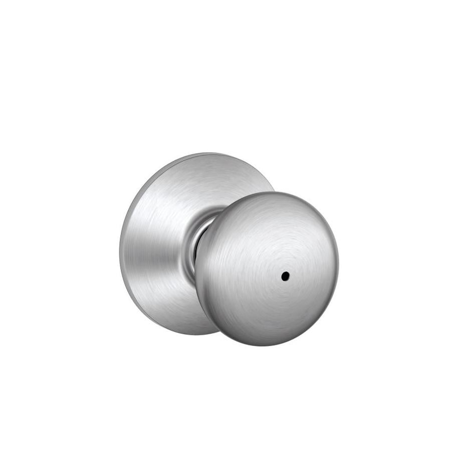 Schlage F Plymouth Satin Chrome Round Push Button-Lock Privacy Door Knob