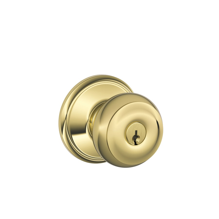 Schlage F Georgian Bright Brass Round Keyed Entry Door Knob