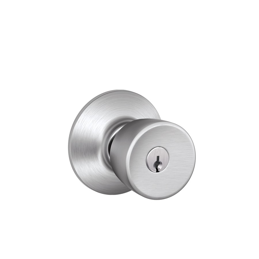 Schlage F Bell Satin Chrome Keyed Entry Door Knob Single