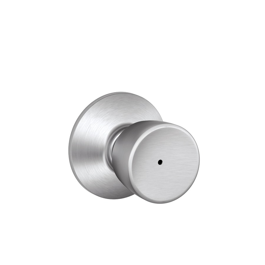 Schlage F Bell Satin Chrome Round Push Button-Lock Privacy Door Knob