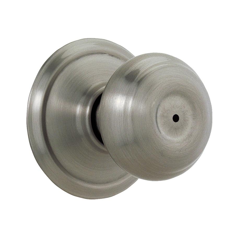 Schlage Privacy Georgian Antique Pewter Round Push Button-Lock Privacy Door Knob