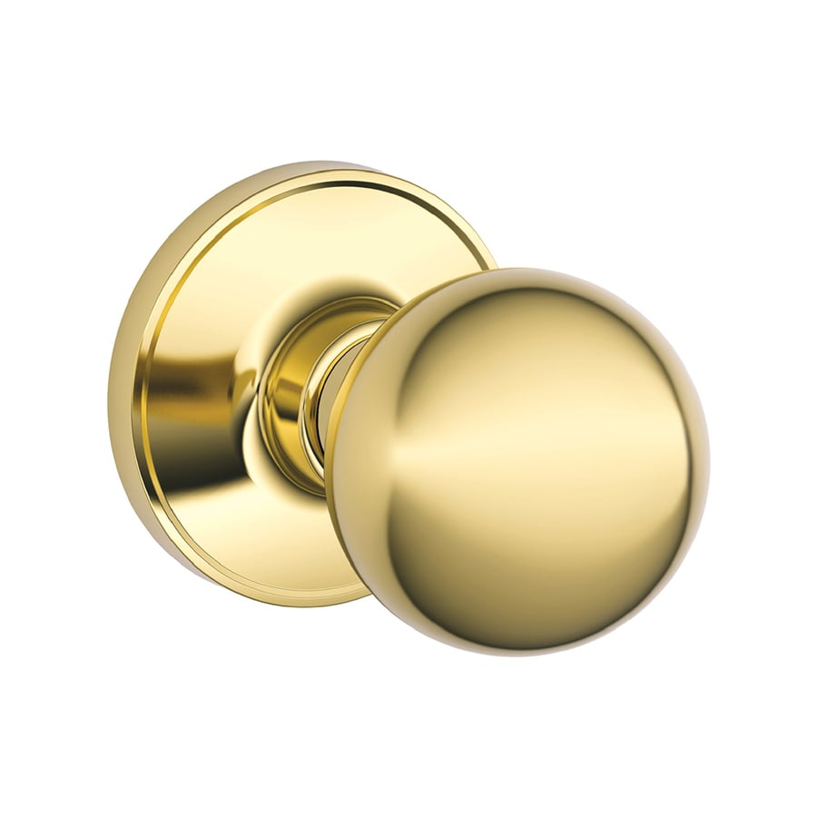 Shop Schlage Corona Bright Brass Round Passage Door Knob