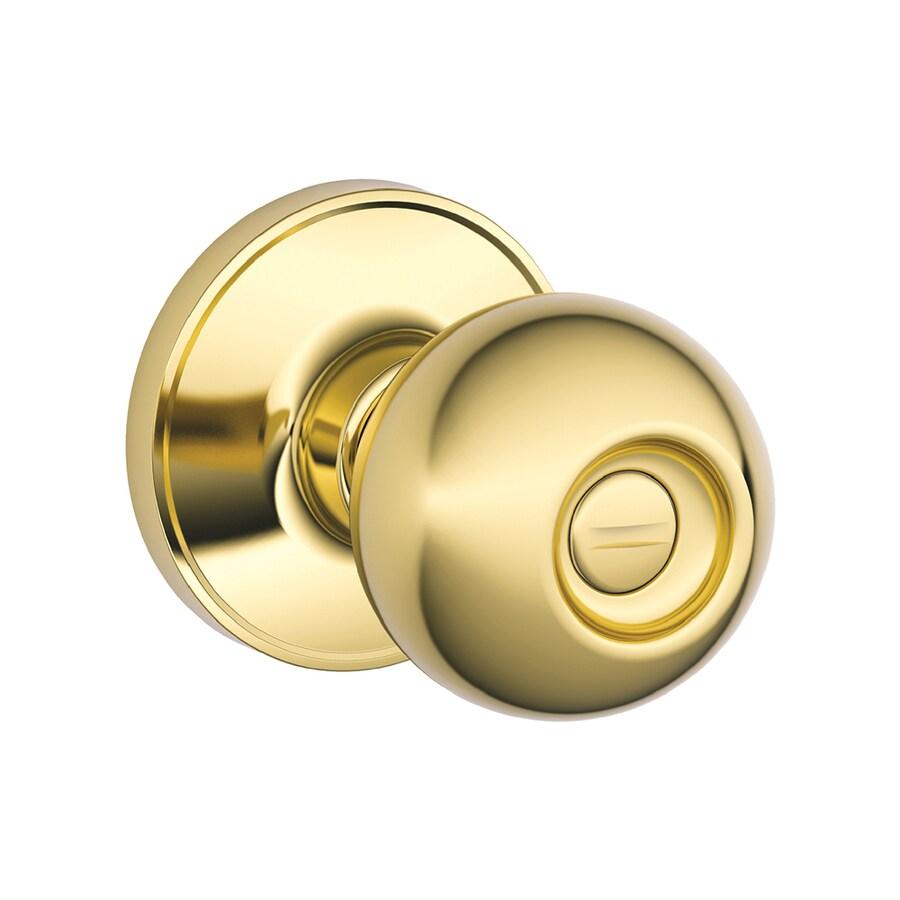 Schlage J Corona Bright Brass Round Turn-Lock Privacy Door Knob