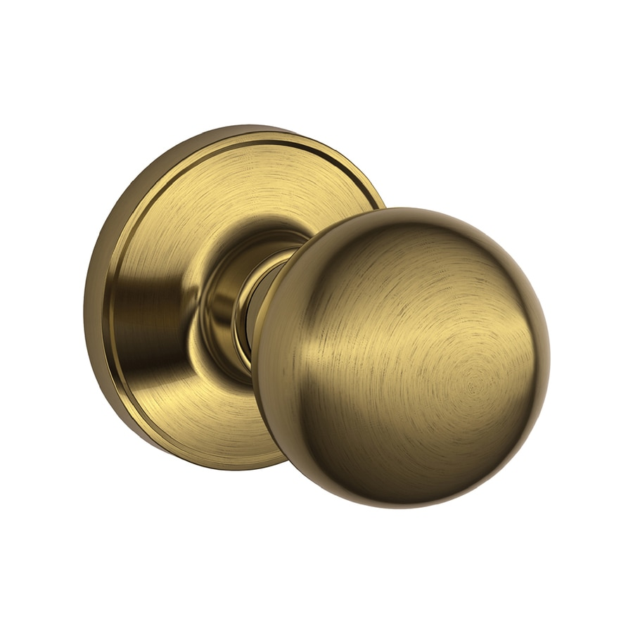 Shop Schlage Corona Antique Brass Round Passage Door Knob