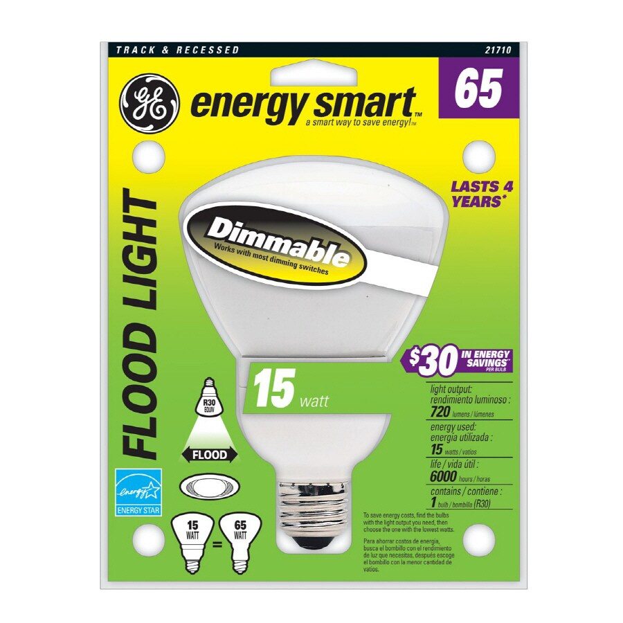 GE 65W Equivalent Dimmable Soft White Br30 CFL Light Bulb