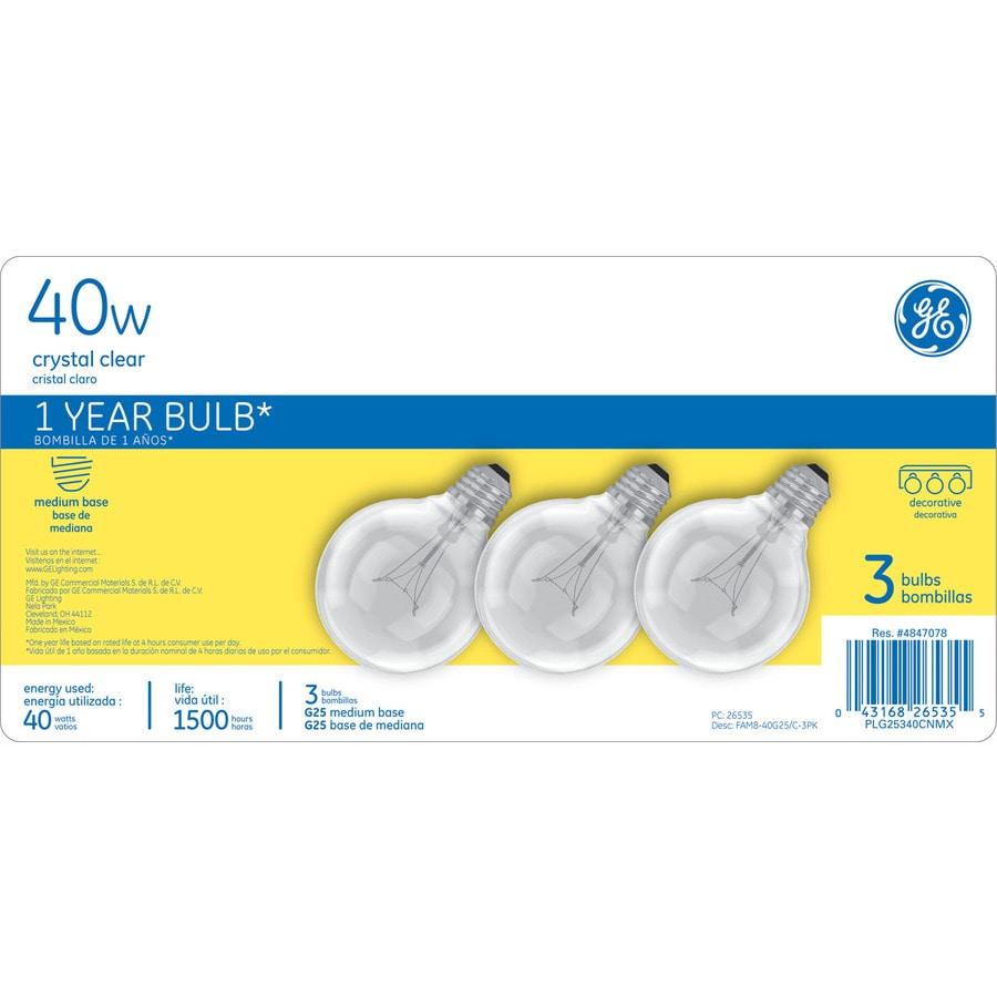 GE 3-Pack 40-Watt G25 Medium Base Soft White Decorative Incandescent Light Bulb