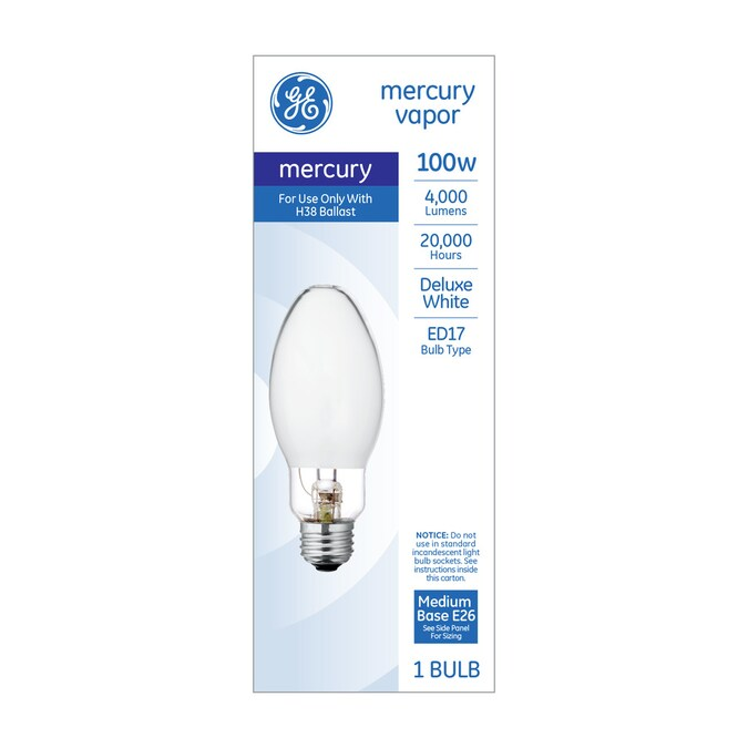 Ge 100 Watt Ed17 For Indoor Outdoor Use Mercury Vapor Hid Light Bulb In The Hid Light Bulbs Department At Lowes Com