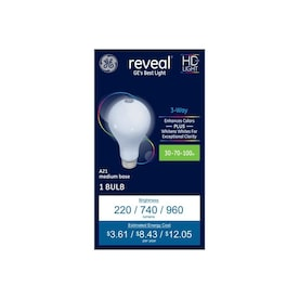 GE Reveal 70-Watt Dimmable 3-Way Bulb A21 Light Fixture Incandescent Light Bulb