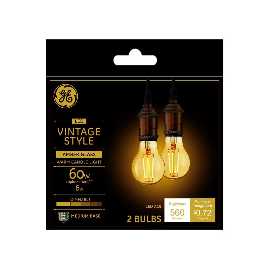 shop ge vintage 2 pack 60 w equivalent dimmable soft white a19 vintage led light fixture light. Black Bedroom Furniture Sets. Home Design Ideas