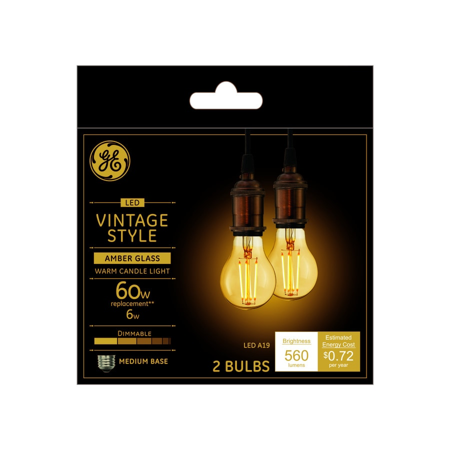 Ge Vintage 60 Watt Eq Warm Candle Light Dimmable Decorative Light