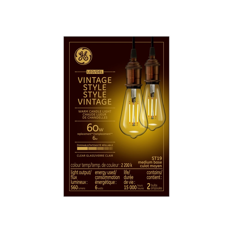 Led Light Fixture Dimmable: Shop GE Vintage 2-Pack 60 W Equivalent Dimmable Warm